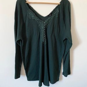 torrid Tops - Torrid Waffle Knit Lace Trim Henley Long S…